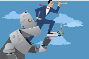 Giant robot holding a businessman with a telescope, helping him to look further ahead, RPA Robotic process automation concept