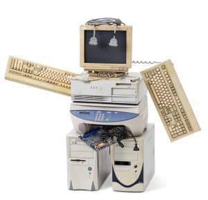 stack of old computer equipment transformed into a robot